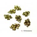 Fournitures pour bijoux: 10 breloques pendentifs trèfles Viel OR ref 141