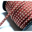 1 mètre de cordon de suédine cloutée doré aspect Daim Rouge PR00205
