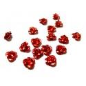 Lot de 50 roses cabochons perles intercalaires en aluminium Rouge