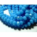 Perles pour bijoux:  20 Rondelles 7 par 10mm Verre   2J1742 facettée bleu caraibe