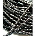 20cm de cordon CUIR VERITABLE TRESSE Marron foncé en 3MM ref 6