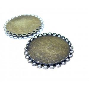 10 Supports de pendentif bronze double vague qualité 30mm