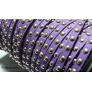 1 mètre de cordon de suédine cloutée doré aspect Daim Violet PR00208