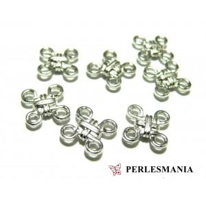 Apprêt bijoux 10 connecteur Noeuds Coréen refOB4580 Argent platine