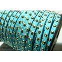 1 mètre de cordon de suédine cloutée doré aspect Daim Bleu PR00202