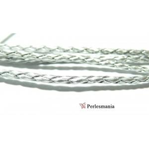 10 m de cordon simili cuir Argent PS5055 pour création de bijoux