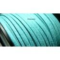 2m de cordon en suédine aspect daim avec paillettes Bleu  clair PS014-2