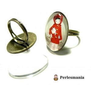 Apprêt bijoux: 2 bagues double fine plateau 13 par 18mm Bronze et 2 cabochons