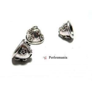 Apprêt et perles: 10 pieces P18579 coupelles caps embouts vieil argent
