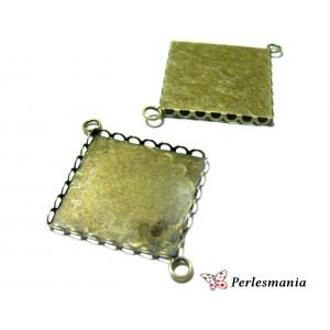 10 Supports de pendentif connecteur carré 25mm Bronze vague 28155