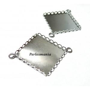 10 Supports de pendentif connecteur carré 25mm Argent platine vague 28155