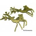 Apprêt 10 pendentifs brelqoue bronze la biche et l'oiseau 2D1939