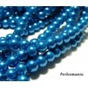 Offre spéciale : 1 fil environ 150 perles de verre nacre bleu lagon 6mm 2G5110