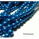 Perles pour bijoux : 40 perles de verre nacre bleu lagon 6mm 2G5110