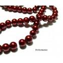 Perles pour bijoux : 40 perles de verre nacre rouge burgundy 6mm P86
