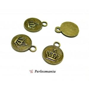Fournitures loisirs créatifs: 10 pendentifs médaillon couronne ref115 Bronze