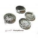Fournitures bijoux: 5 pendentifs médaillon photo ARGENT PLATINE ajouré dentelle ID3380