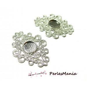 Apprêt pour création de bijoux: 2 multiconnecteurs dentelle argent platine A18223