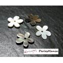 1 magnifique fleur de nacre sculptée bicolore grise et crème ref 84