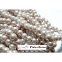 Offre spéciale : 1 fil environ 110 perles de verre nacre rose poudré 8mm 2O588