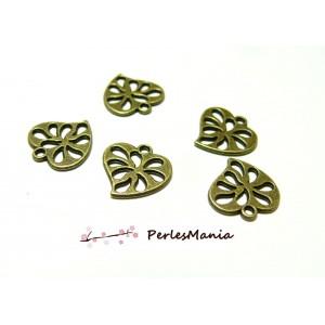 10 pendentifs magnifique petits coeur ajourés Bronze 2Y6524