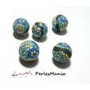 Apprêt 10 perles  de fimo flower power ref P98Y en 14mm  pour création de bijoux