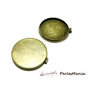 Fournitures bijoux: 10 Supports de pendentif rond 25mm Bronze attache parallèle ID30154