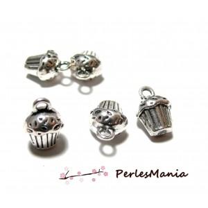 10 pendentifs cup cake gateau muffins Viel argent PA113361 fournitures pour bijoux
