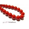 Apprêt et perles: 6 perles jade teintée 10mm rouge vif P263