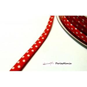 1 m ruban biais pois 7mm ref FF4046 collection 50 rouge mercerie pour bijoux