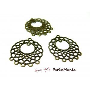 10 pendentifs multiconnecteurs Art Nouveau Bronze 2A7330 Fournitures loisirs créatifs