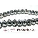 1 fil d'environ 65 perles facettées rondelles argenté 6 par 8mm ref 2J1205