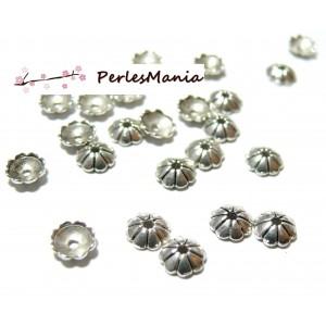 20 coquilles coupelles embouts 6mm Vieil argent ref 44 Fournitures pour bijoux