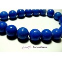 2 perles jade teintée 16mm bleu electrique PXS08 pour création de bijoux, boucle d'oreille