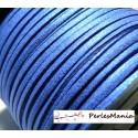 10 m de cordon en suédine aspect daim Bleu électrique PS146 effet pailleté qualité