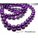 Offre spéciale : 1 fil environ 110 perles de verre nacre violet 8mm B15