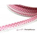 1m ruban biais dentelle pois 12mm ref FF4075 collection 42 rose  mercerie pour bijoux