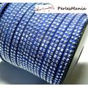 3m de cordon de suédine cloutée argent  aspect Daim double rangée facettée Bleu nuit P00509