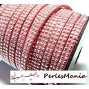 3m de cordon de suédine cloutée argent  aspect Daim double rangée facettée RoseP00505