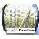 3m de cordon de suédine cloutée argent  aspect Daim double rangée facettée Jaune pale P00508