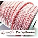 3m de cordon de suédine cloutée argent aspect Daim double rangée facettée ROSE PALE P00506