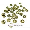100 petites perles P101871 intercalaires plates martelées 7mm Bronze