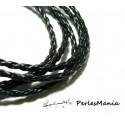 Apprêt bijoux 10 m fil tressé simili cuir  noir P5002 diamètre 3mm