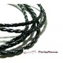 Apprêt bijoux: 2 m fil tressé simili cuir  noir P5002 diamètre 3mm
