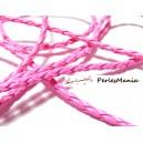 Apprêt bijoux: 10 m fil tressé simili cuir  rose fluo P5062 diamètre 3mm