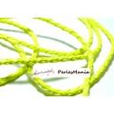 Apprêt bijoux: 10 m fil tressé simili cuir  jaune fluo P5063 diamètre 3mm