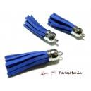 Apprêt mercerie 2 pompons passementière  bleu electrique embout argent platine PH0049