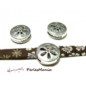 2 slides passants perles coulissantes fleur Viel argent PC050 pour création de bijoux
