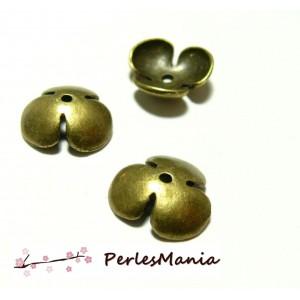 Apprêt pour bijoux: 10 coupelles coquille calottes grandes fleur OB13041 BRONZE