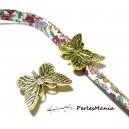 10 slides Papillon VIEIL OR  P4818 Accessoire pour création de bijoux